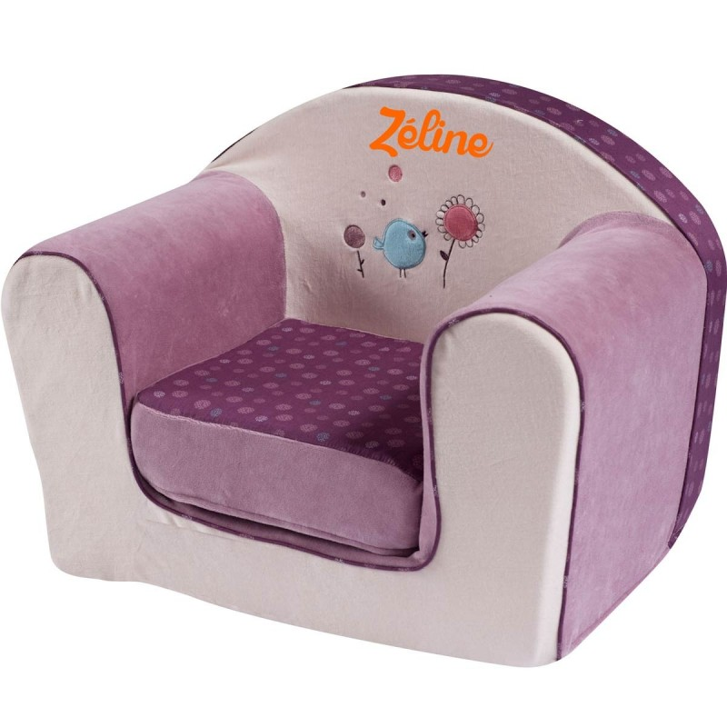 fauteuil club enfant avec pr nom birdy. Black Bedroom Furniture Sets. Home Design Ideas
