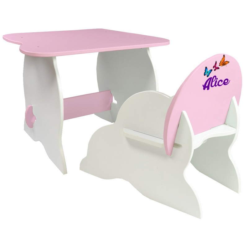 table et chaise enfant personnalis e roses. Black Bedroom Furniture Sets. Home Design Ideas