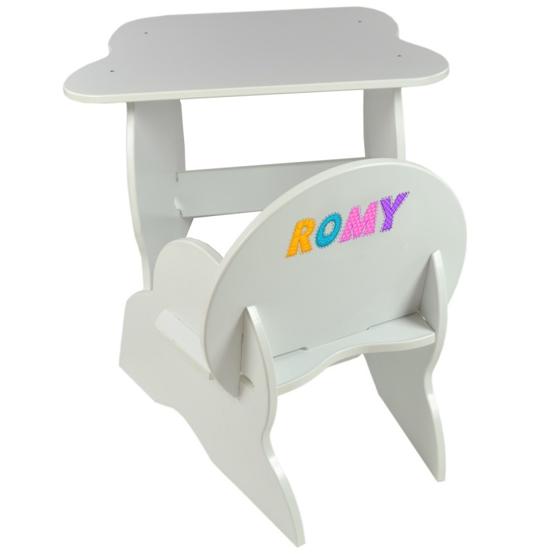Ensemble table et chaise enfant personnalis e blanc for Ensemble chaise et table