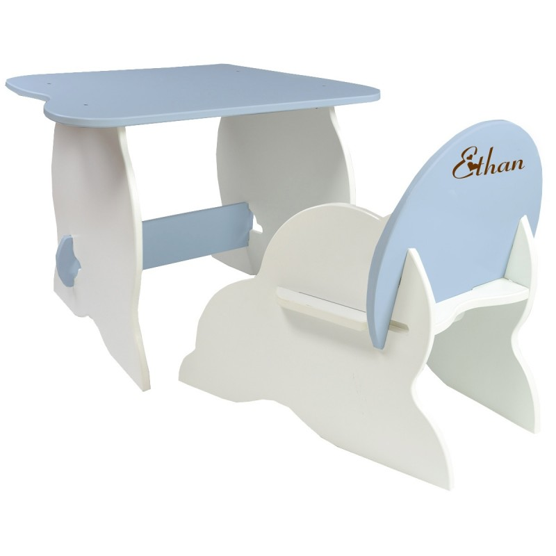 Table et chaise enfant personnalis e bleues - Table et chaise moulin roty ...