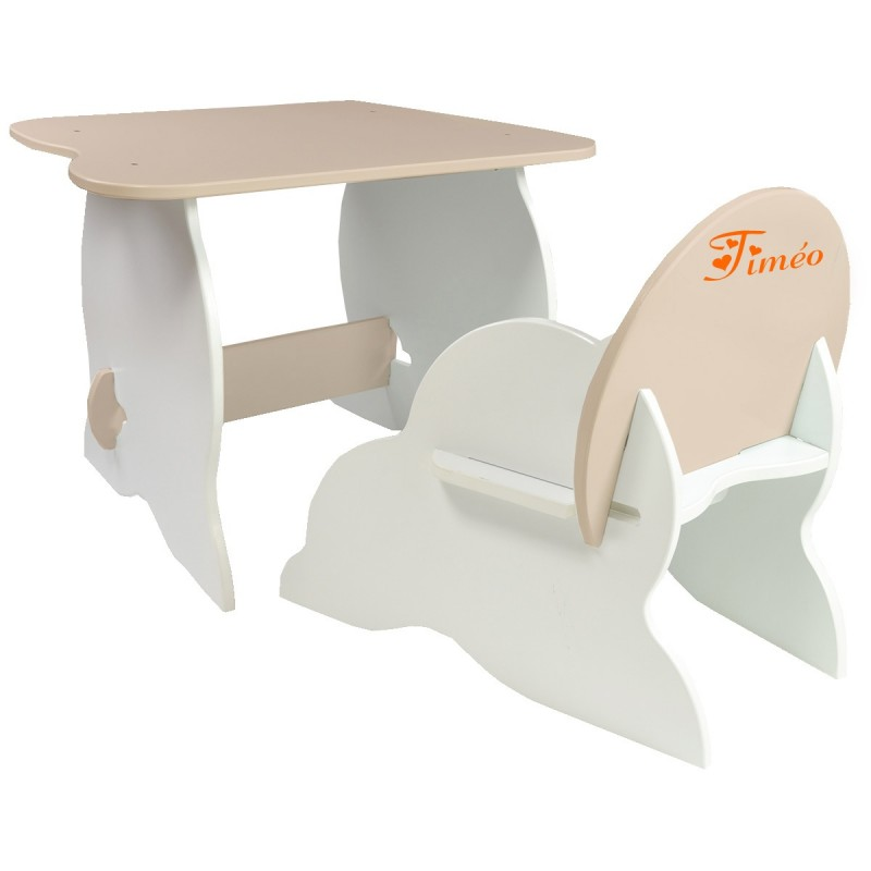 table et chaise enfant personnalis e taupes. Black Bedroom Furniture Sets. Home Design Ideas