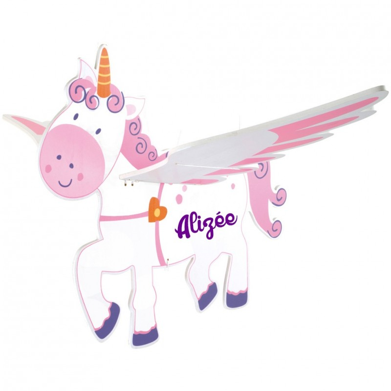 Suspension personnalis e pour fille licorne ail e for Decoration licorne chambre