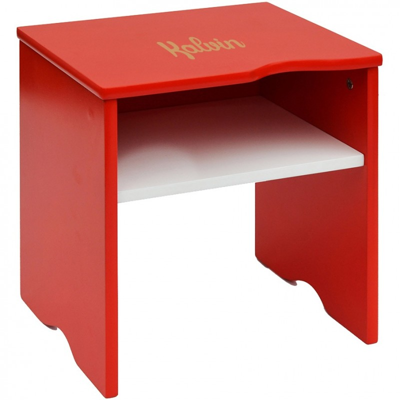 Table de chevet enfant personnalis e rouge blanc - Table de chevet rouge ...