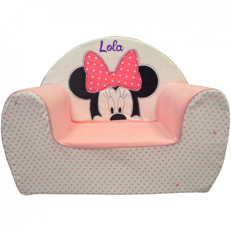 fauteuil club enfant personnalis avec pr nom minnie. Black Bedroom Furniture Sets. Home Design Ideas