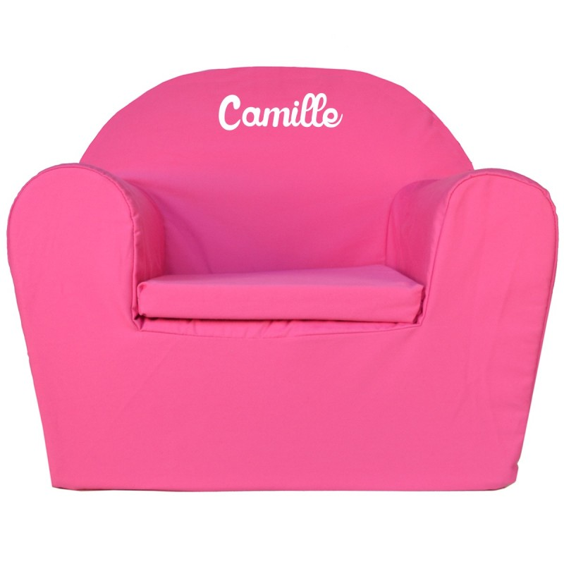 fauteuil club enfant brod avec pr nom rose. Black Bedroom Furniture Sets. Home Design Ideas
