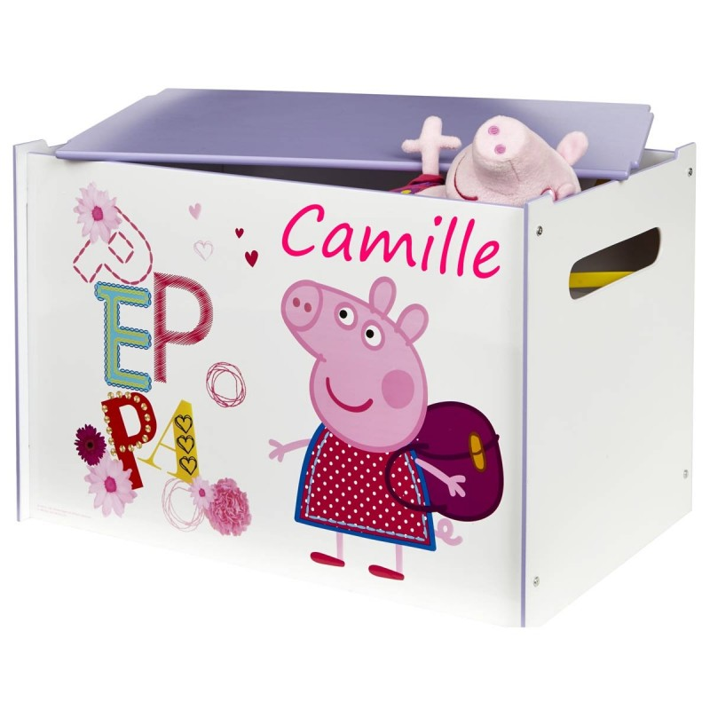 coffre jouets personnalis peppa pig. Black Bedroom Furniture Sets. Home Design Ideas