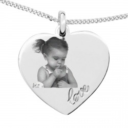Collier photo en argent - Cœur Love